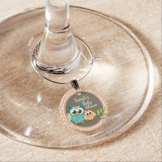 Owls Baby Shower Orange and White Chevron Wine Glass Charm