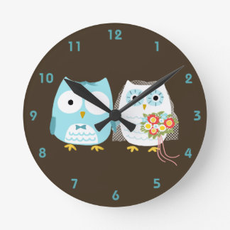Owls Bride and Groom - Cute Wedding Couple Clocks