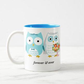 Owls Bride and Groom Forever & Ever - Custom Text Two-Tone Mug
