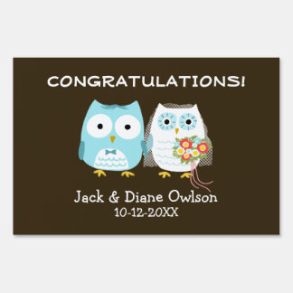 Owls Bride and Groom Wedding Congratulations Sign