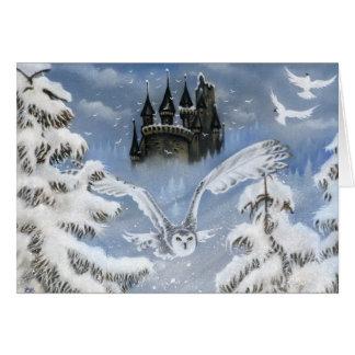 Owls castle winter fairytale greeting card