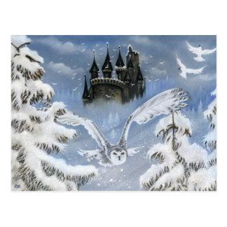 Owls Castle Winter Fairytale Postcard
