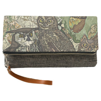 Owls Charcoal Fold-Over Clutch