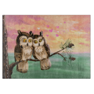 Owls couple love cute sunset boards