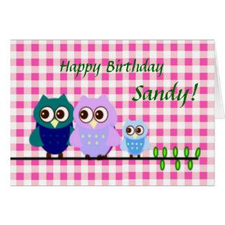 Owls Family Birthday Card