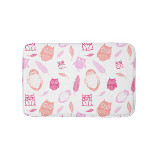 Owls Feathers Pink Coral Bathmat
