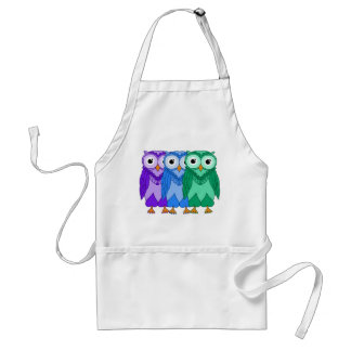 Owls: Green Blue Purple Standard Apron