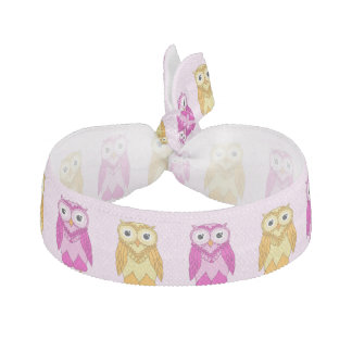 Owls Hair Tie: Pink and Gold Yellow Owls Hair Tie