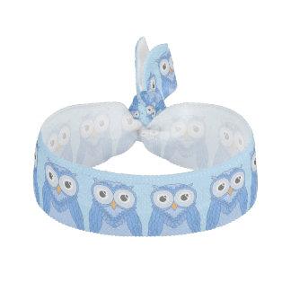 Owls Hair Ties: Blue Owls Ribbon Hair Tie