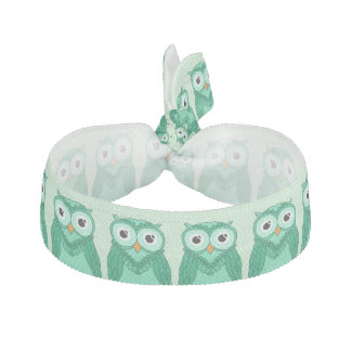 Owls Hair Ties: Green Owls Ribbon Hair Tie