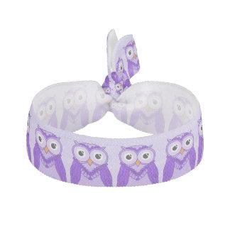 Owls Hair Ties: Purple Owls Ribbon Hair Tie