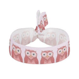 Owls Hair Ties: Red Owls Ribbon Hair Tie