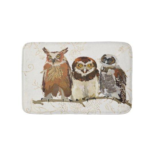 Owls In A Row Bath Mat