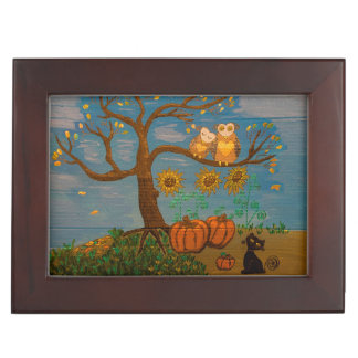 Owls In A Tree, Sunflowers, Pumpkins & Black Cat Memory Boxes