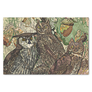 Owls in batik style 10lb Tissue Paper, White Tissue Paper