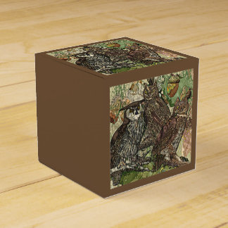 Owls in batik style 2x2 Favor Box