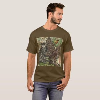 Owls in batik style Men's Basic Dark T-Shirt