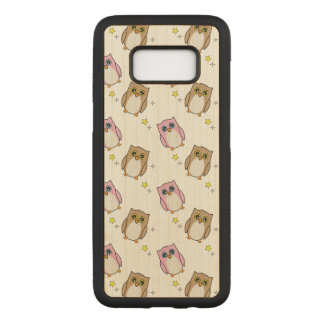 Owls in Pink and Brown Carved Samsung Galaxy S8 Case