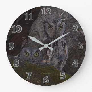 Owls in the Oak Hollow Large Clock