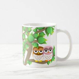 Owls in tree coffee mug