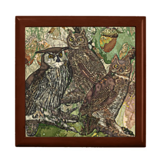 "Owls Large Square w/6"" Tile Gift Box, Golden Oak Gift Box"