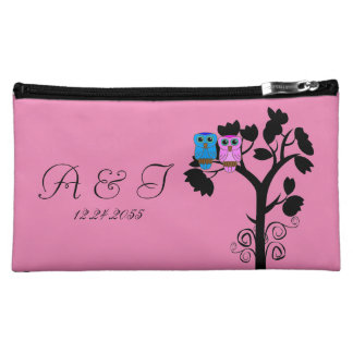 Owls - Love Bird Themed Bridesmaids Cosmetic Bags