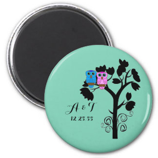 Owls - Love Birds - Cute Wedding Favors Magnet