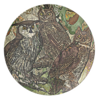 Owls Melamine Plate