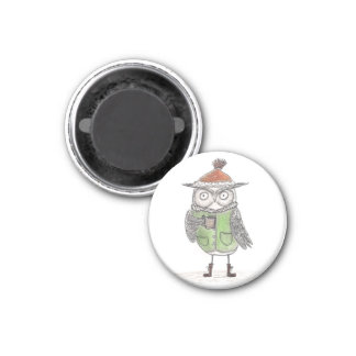 Owl's Morning Coffee 1 Inch Round Magnet