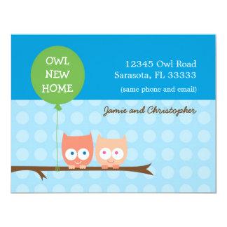 "Owls Moving Card 4.25"" X 5.5"" Invitation Card"