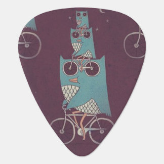 Owls on a Bicycle Guitar Pick