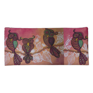 owls on a branch pencil case