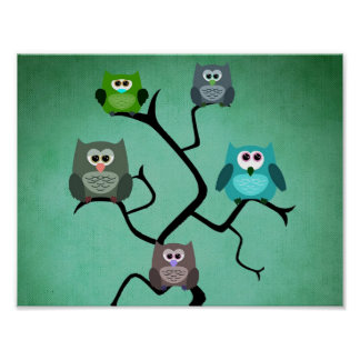 Owls on Branches Poster