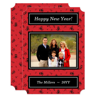 Owls on Red - Happy New Year Photo Card