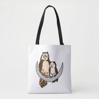 Owls on the Moon Tote Bag