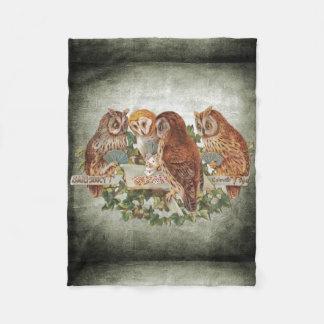 Owls playing fleece blanket