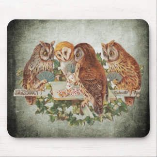 Owls Playing Poker Mouse Pad