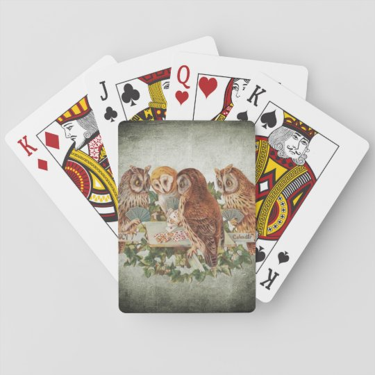 Owls Playing Poker Poker Deck