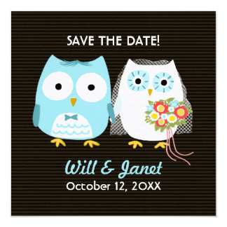 "Owls Wedding Bride and Groom - Save the Date 5.25"" Square Invitation Card"
