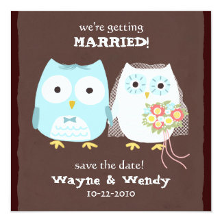 "Owls Wedding Bride and Groom Save the Date 5.25"" Square Invitation Card"