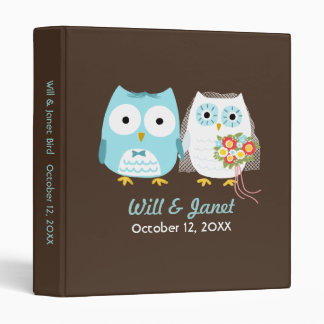 Owls Wedding - Bride and Groom with Custom Text 3 Ring Binders