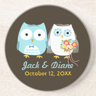 Owls Wedding - Bride and Groom with Custom Text Beverage Coasters