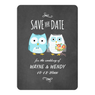 "Owls Wedding Chalkboard Style Save the Date 5"" X 7"" Invitation Card"