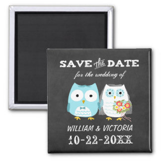 Owls Wedding Chalkboard Style Save the Date Magnet
