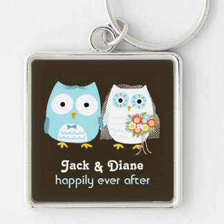 Owls Wedding Couple - Cute Bride and Groom Silver-Colored Square Keychain