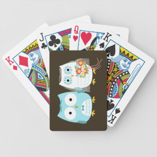 Owls Wedding - Cute Bride and Groom Bicycle Playing Cards