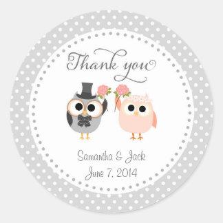 Owls Wedding Thank You Sticker