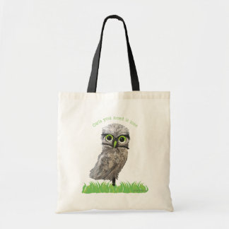 Owls You Need is Love Silver Burrowing Owl Art Tote Bag