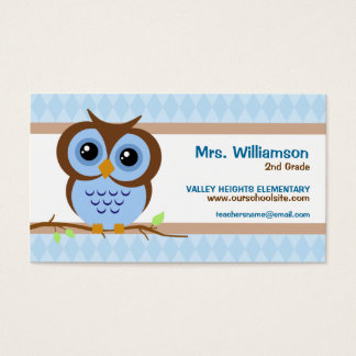Owly Blue Teacher Business Cards