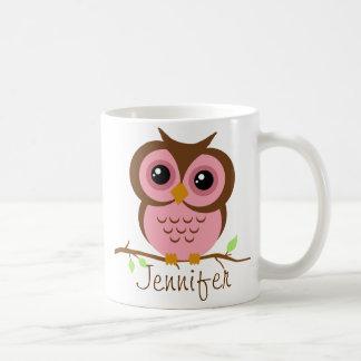 Owly Pink Personalized Coffee Mug
